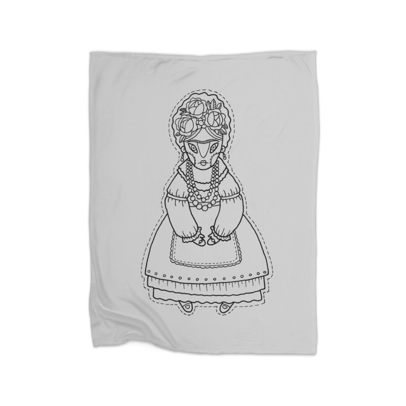 Frida Kahlo Home Fleece Blanket Blanket by Crazy Pangolin's Artist Shop