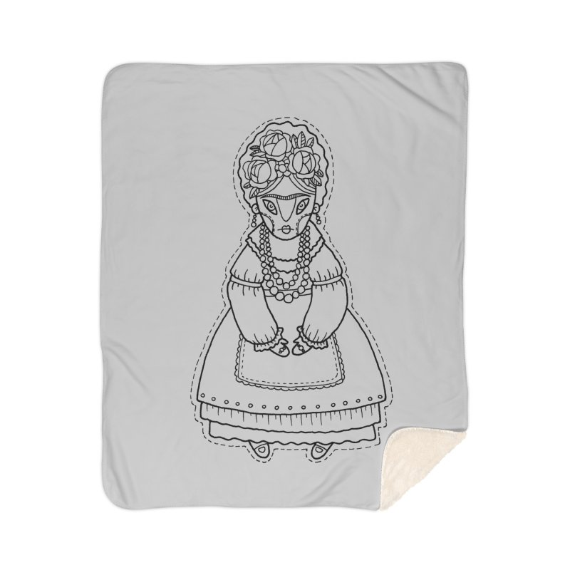 Frida Kahlo Home Sherpa Blanket Blanket by Crazy Pangolin's Artist Shop