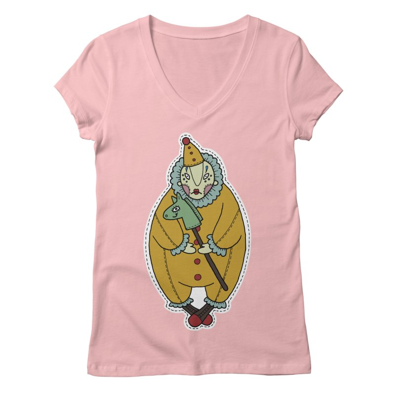 Clown in Women's Regular V-Neck Pink by Crazy Pangolin's Artist Shop