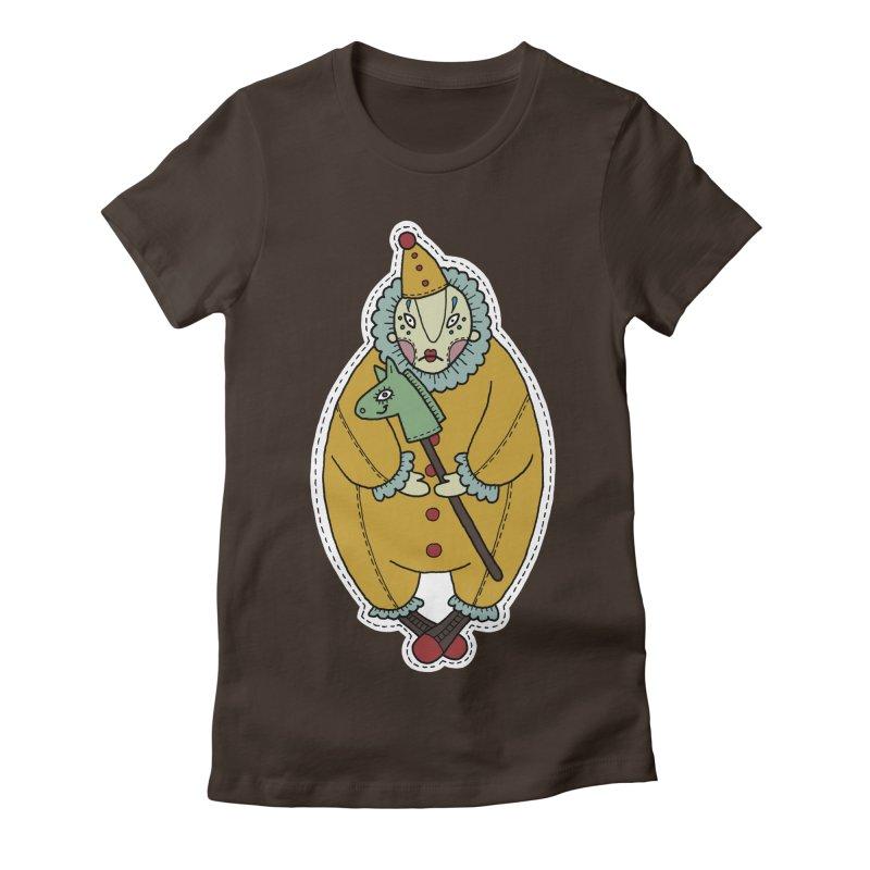 Clown Women's Fitted T-Shirt by Crazy Pangolin's Artist Shop