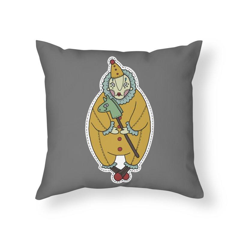 Clown Home Throw Pillow by Crazy Pangolin's Artist Shop