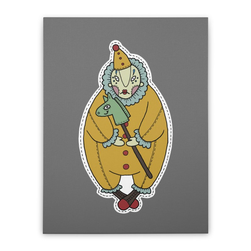 Clown Home Stretched Canvas by Crazy Pangolin's Artist Shop