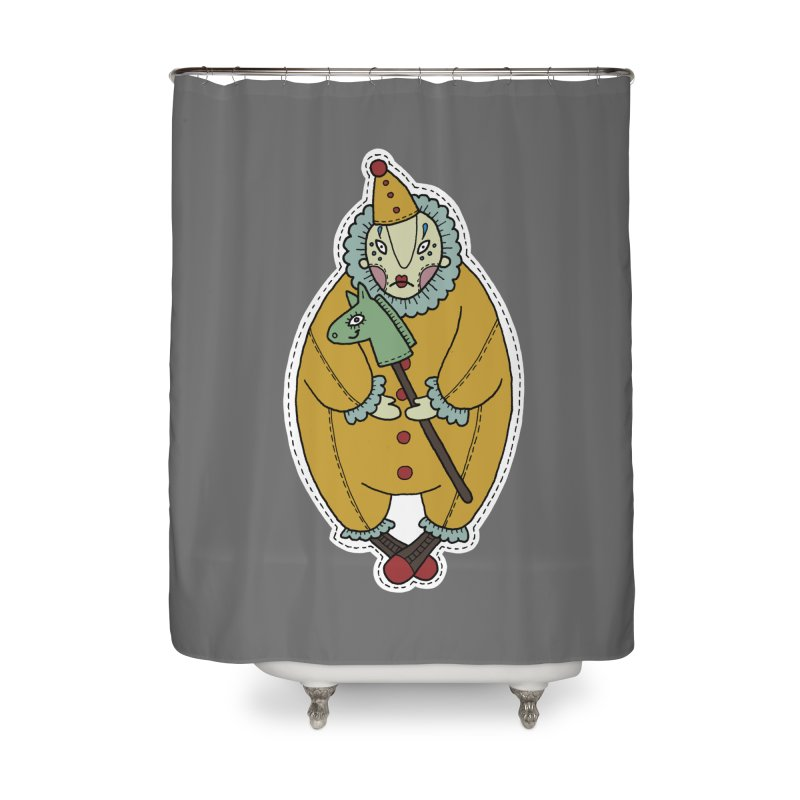 Clown Home Shower Curtain by Crazy Pangolin's Artist Shop