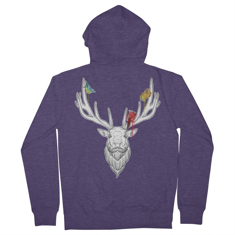 Oh Deer... Men's French Terry Zip-Up Hoody by Crazy Pangolin's Artist Shop