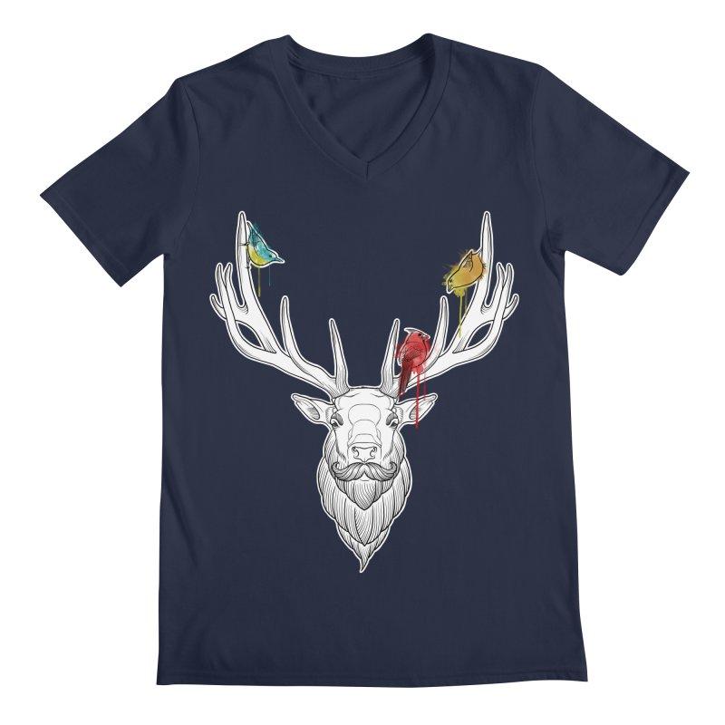 Oh Deer... Men's Regular V-Neck by Crazy Pangolin's Artist Shop