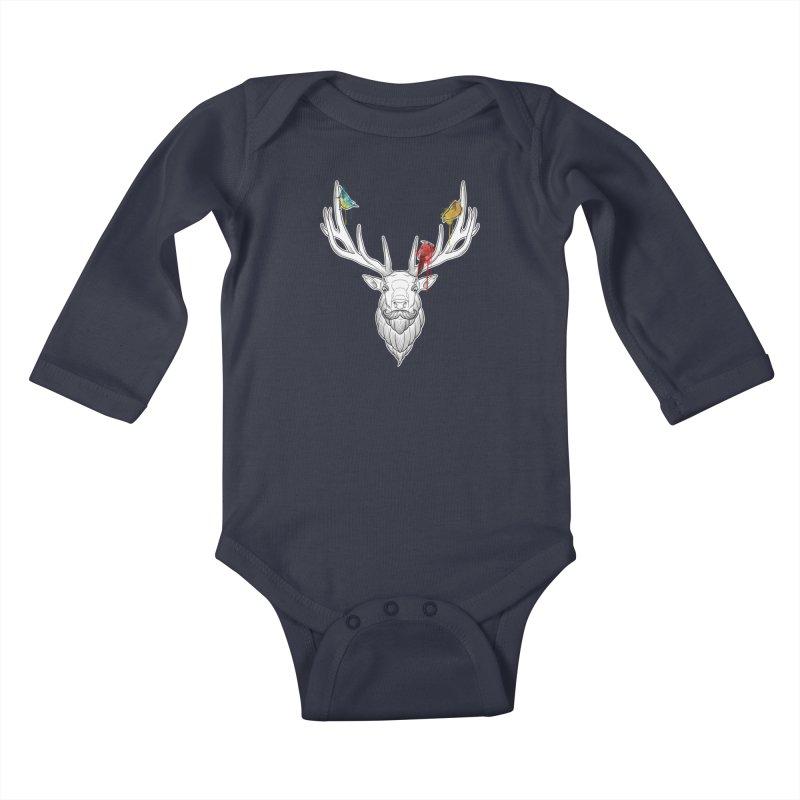 Oh Deer... Kids Baby Longsleeve Bodysuit by Crazy Pangolin's Artist Shop
