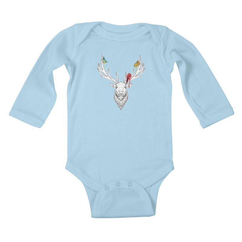 Oh Deer... Kids Baby Longsleeve Bodysuit by Crazy Pangolin's Artist Shop