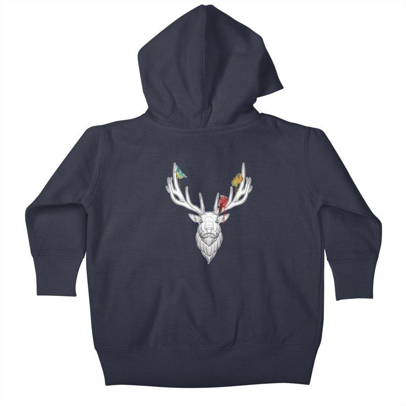 Oh Deer... Kids Baby Zip-Up Hoody by Crazy Pangolin's Artist Shop