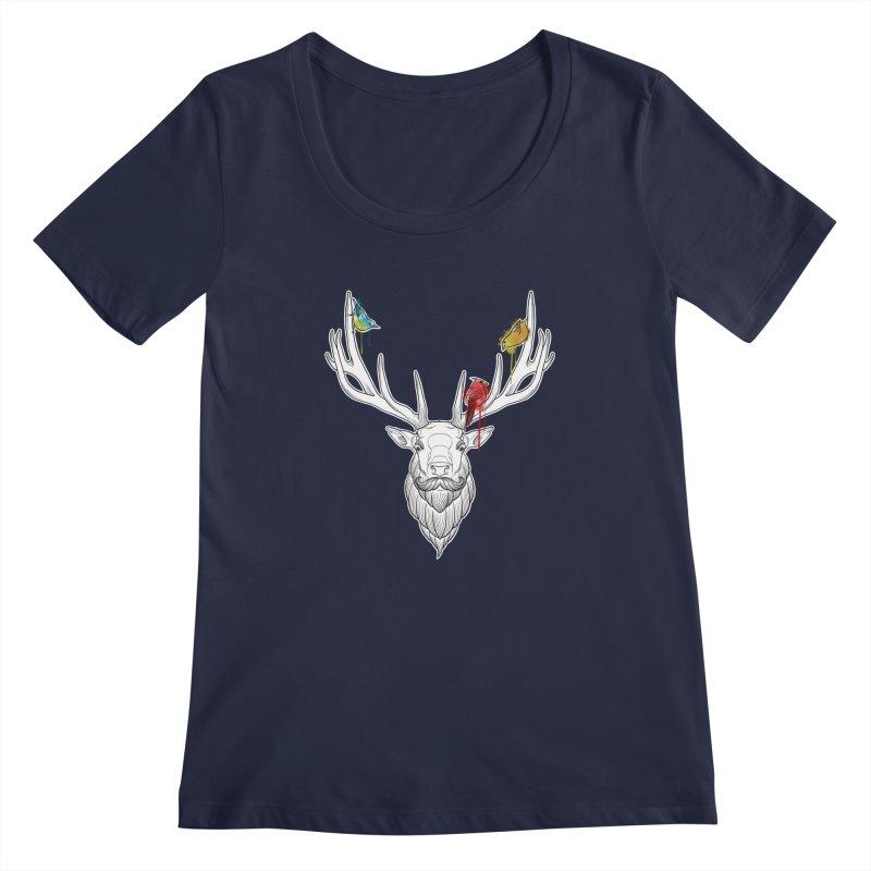 Oh Deer... Women's Scoopneck by Crazy Pangolin's Artist Shop