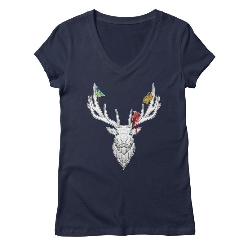 Oh Deer... Women's Regular V-Neck by Crazy Pangolin's Artist Shop