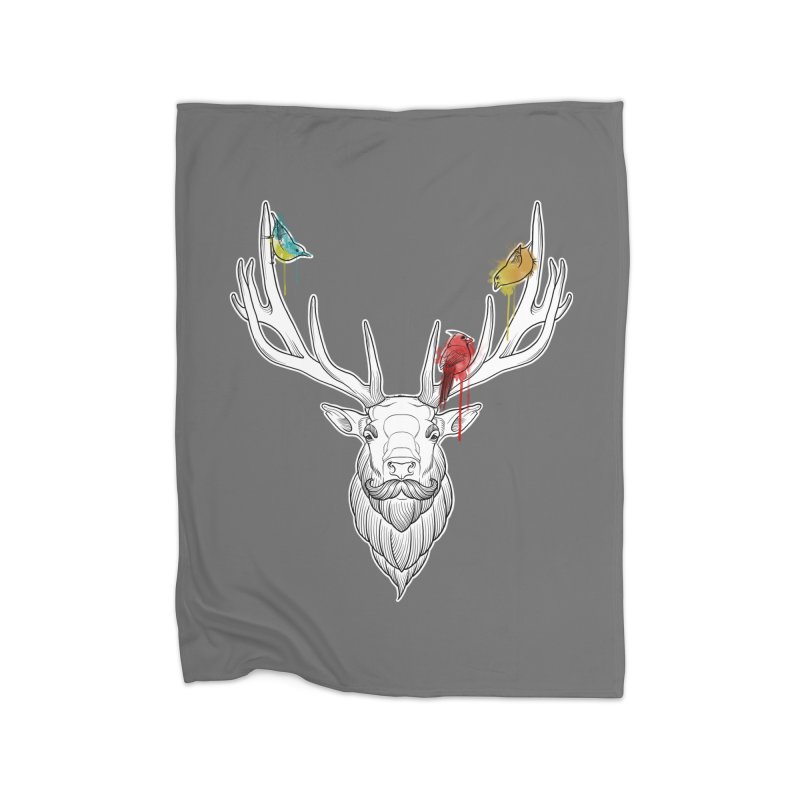 Oh Deer... Home Fleece Blanket Blanket by Crazy Pangolin's Artist Shop