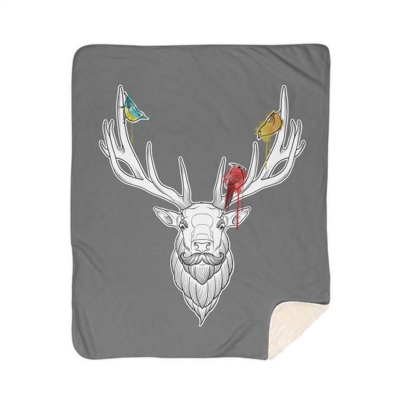 Oh Deer... Home Sherpa Blanket Blanket by Crazy Pangolin's Artist Shop