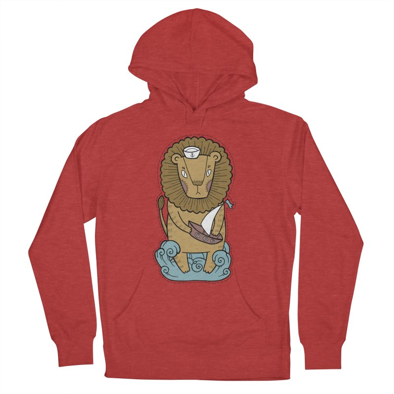 Sailor Lion Women's French Terry Pullover Hoody by Crazy Pangolin's Artist Shop