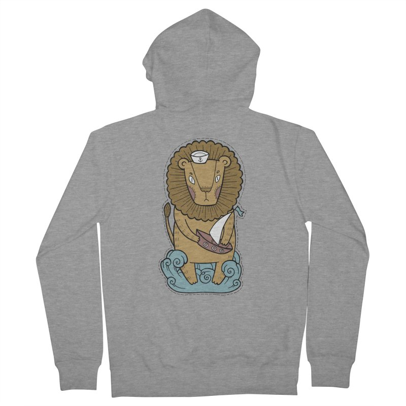 Sailor Lion Women's French Terry Zip-Up Hoody by Crazy Pangolin's Artist Shop