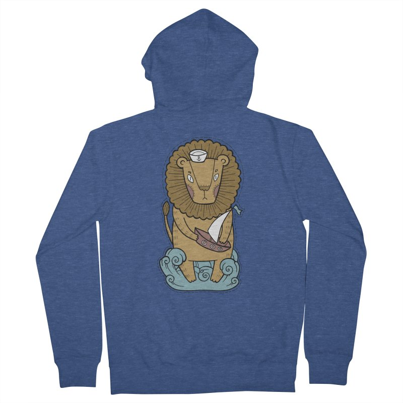Sailor Lion Men's French Terry Zip-Up Hoody by Crazy Pangolin's Artist Shop