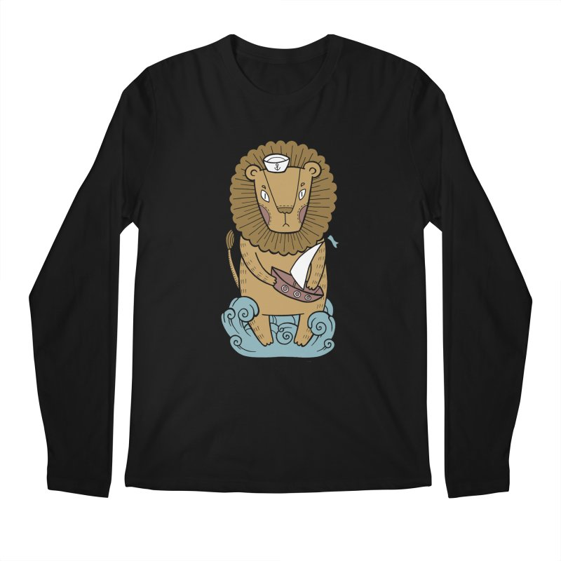 Sailor Lion Men's Regular Longsleeve T-Shirt by Crazy Pangolin's Artist Shop