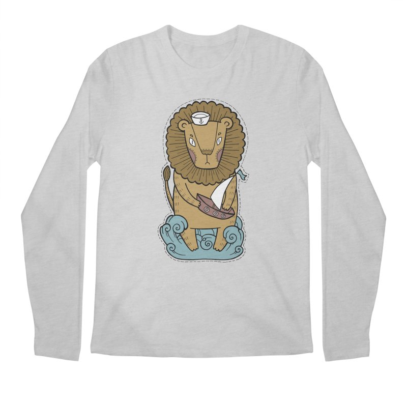 Sailor Lion Men's Regular Longsleeve T-Shirt by Crazy Pangolin's Artist Shop