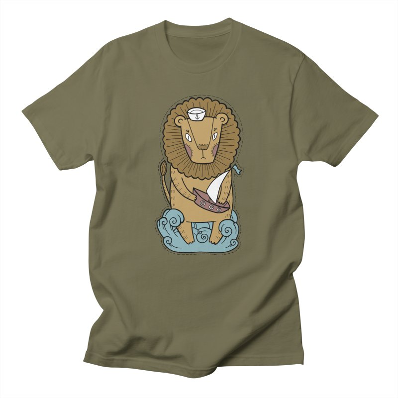 Sailor Lion Women's Regular Unisex T-Shirt by Crazy Pangolin's Artist Shop