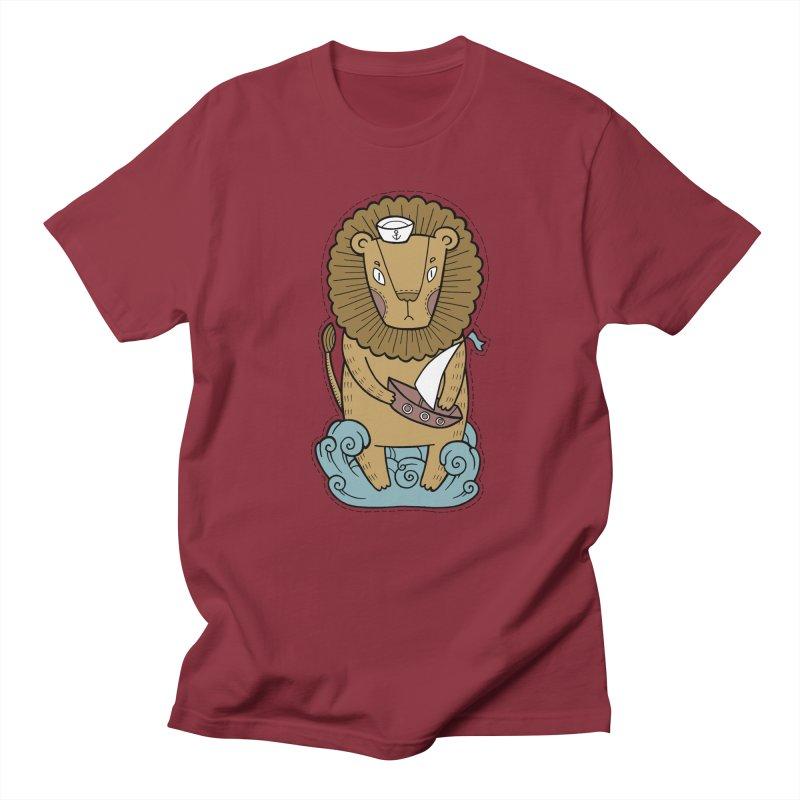 Sailor Lion Men's Regular T-Shirt by Crazy Pangolin's Artist Shop