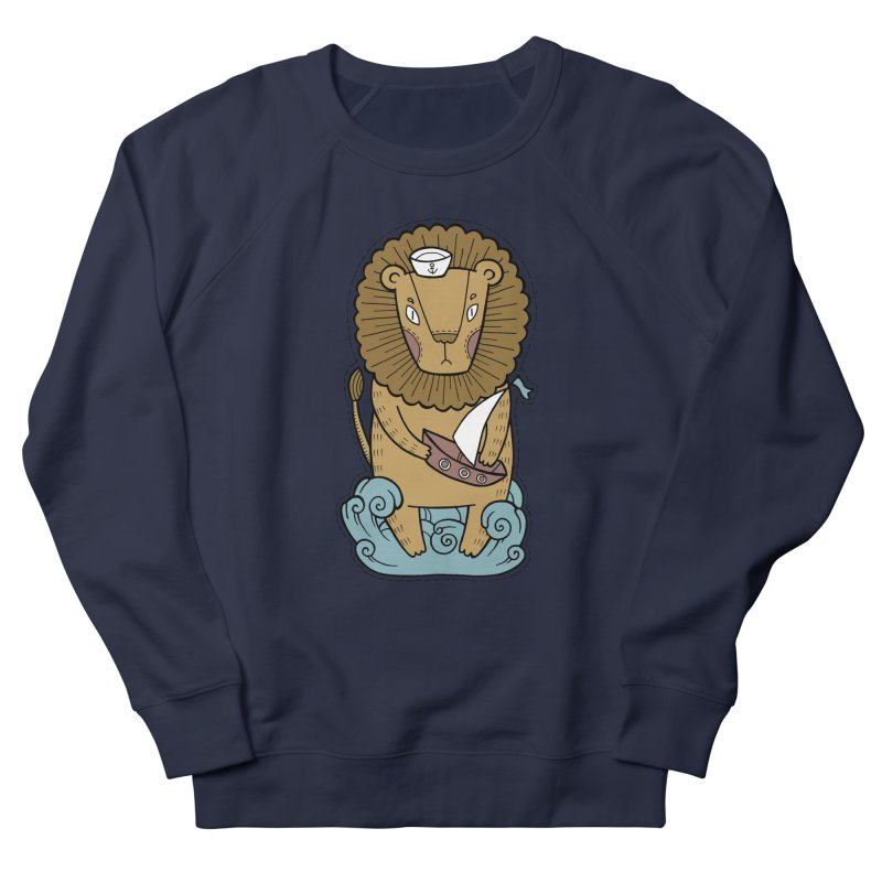 Sailor Lion Women's French Terry Sweatshirt by Crazy Pangolin's Artist Shop