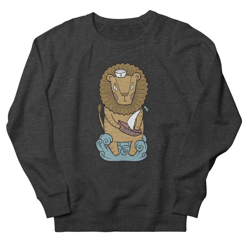 Sailor Lion Men's French Terry Sweatshirt by Crazy Pangolin's Artist Shop