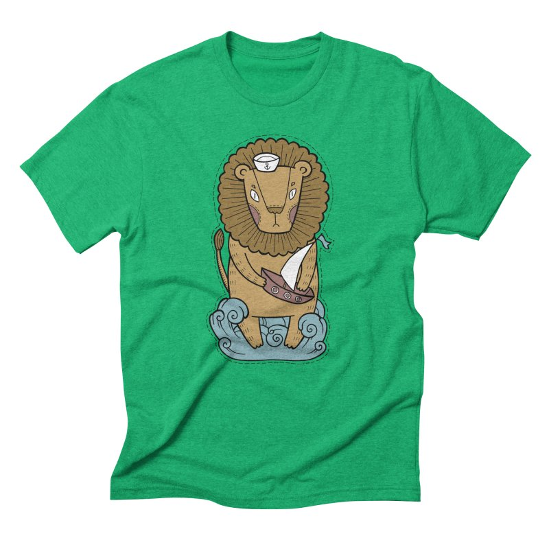 Sailor Lion Men's Triblend T-Shirt by Crazy Pangolin's Artist Shop