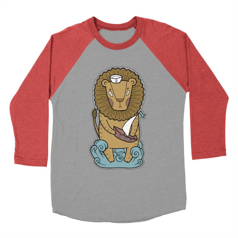 Sailor Lion Men's Baseball Triblend Longsleeve T-Shirt by Crazy Pangolin's Artist Shop