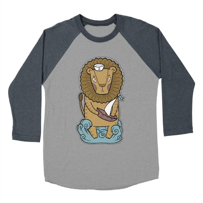 Sailor Lion Men's Baseball Triblend Longsleeve T-Shirt by Crazy Pangolin's Artist Shop