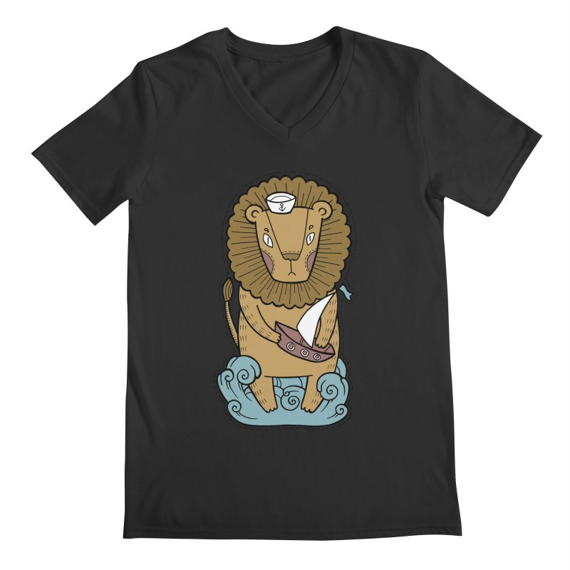 Sailor Lion Men's V-Neck by Crazy Pangolin's Artist Shop