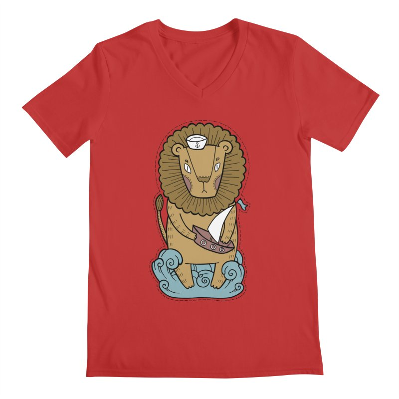 Sailor Lion Men's Regular V-Neck by Crazy Pangolin's Artist Shop