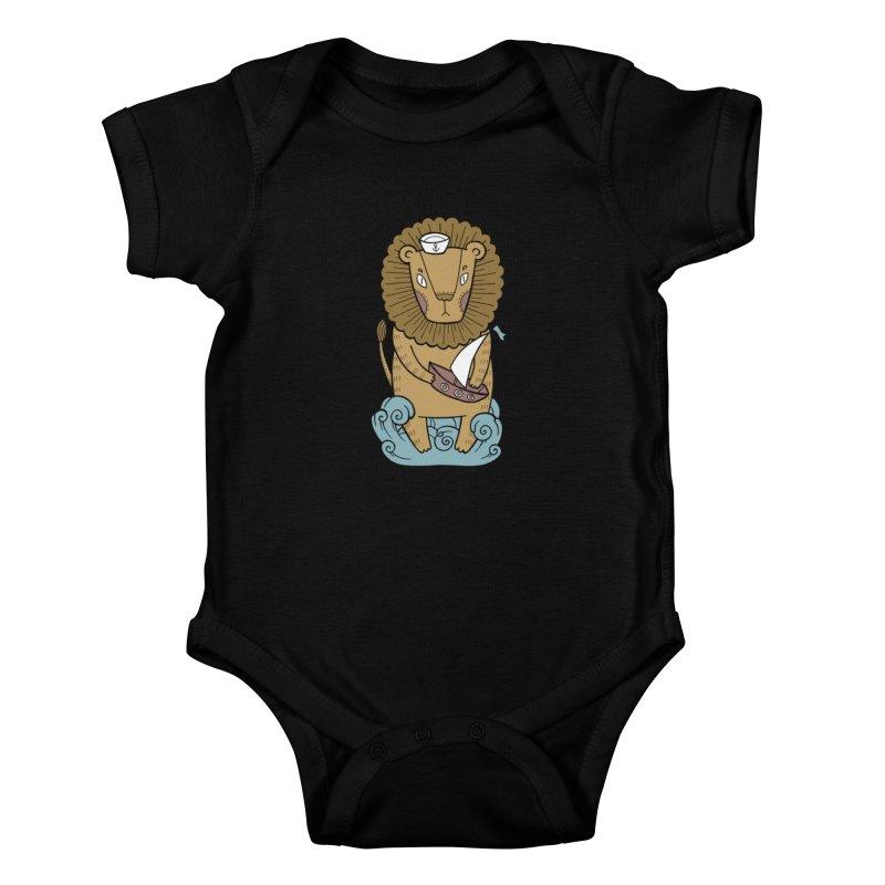 Sailor Lion Kids Baby Bodysuit by Crazy Pangolin's Artist Shop