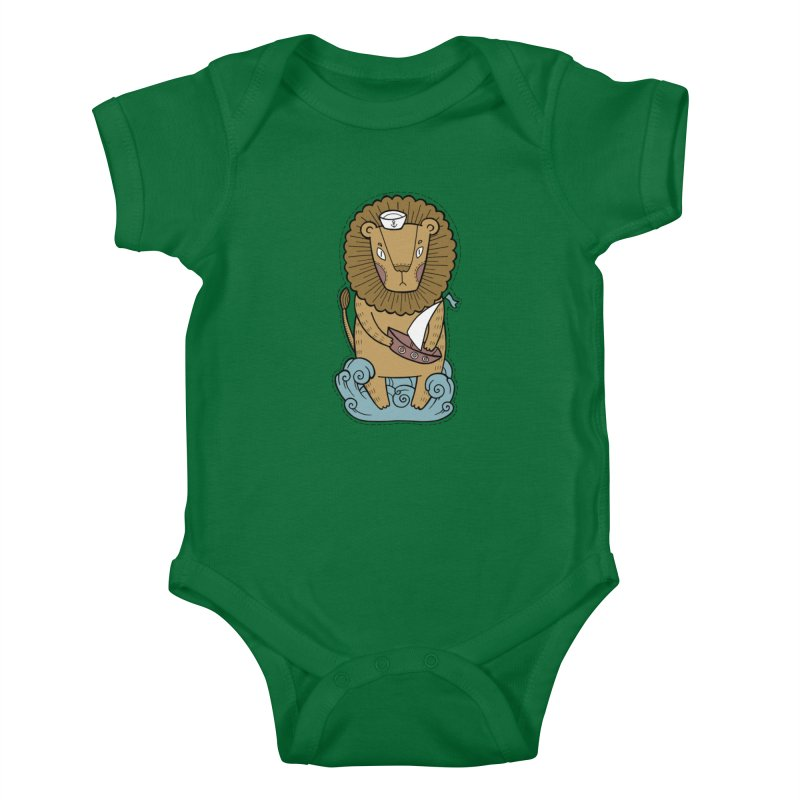 Sailor Lion Kids Baby Bodysuit by Crazy Pangolin's Artist Shop