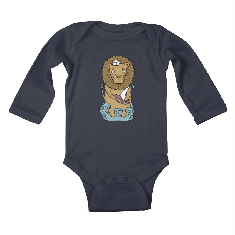 Sailor Lion Kids Baby Longsleeve Bodysuit by Crazy Pangolin's Artist Shop