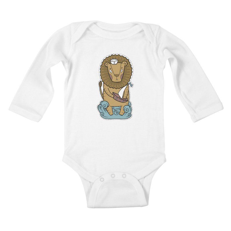 Sailor Lion Kids Baby Longsleeve Bodysuit by Crazy Pangolin's Artist Shop