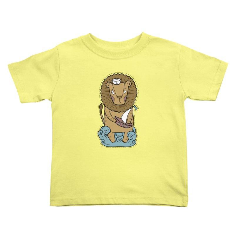 Sailor Lion Kids Toddler T-Shirt by Crazy Pangolin's Artist Shop