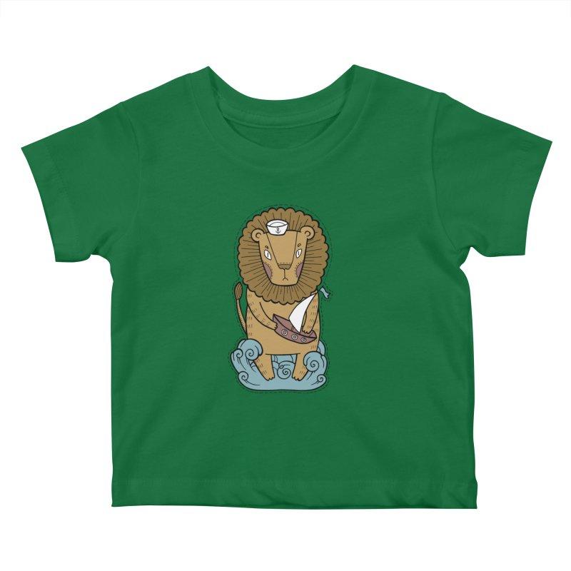 Sailor Lion Kids Baby T-Shirt by Crazy Pangolin's Artist Shop