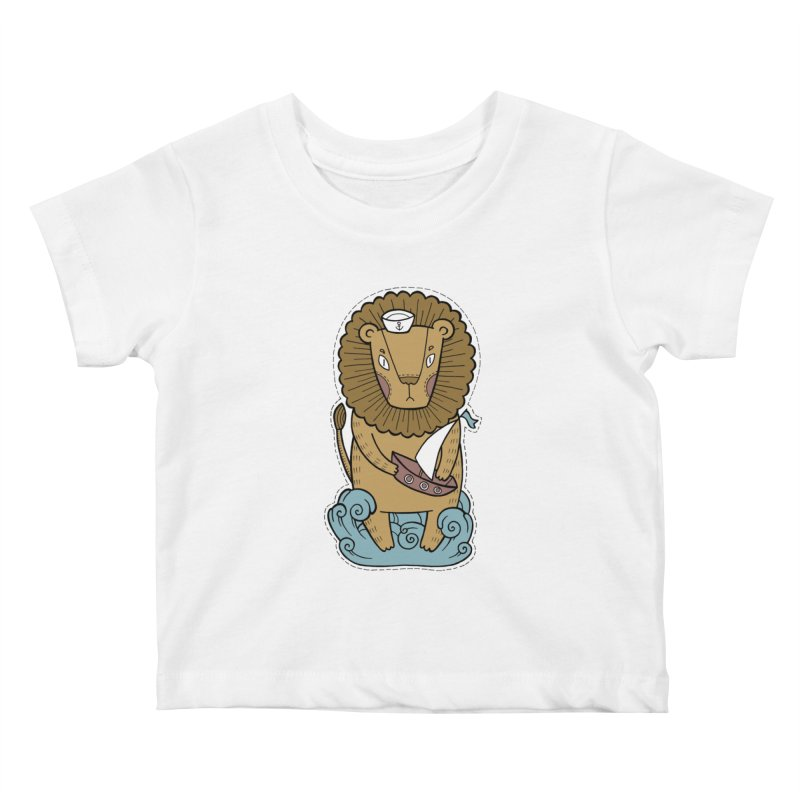 Sailor Lion Kids Baby T-Shirt by Crazy Pangolin's Artist Shop