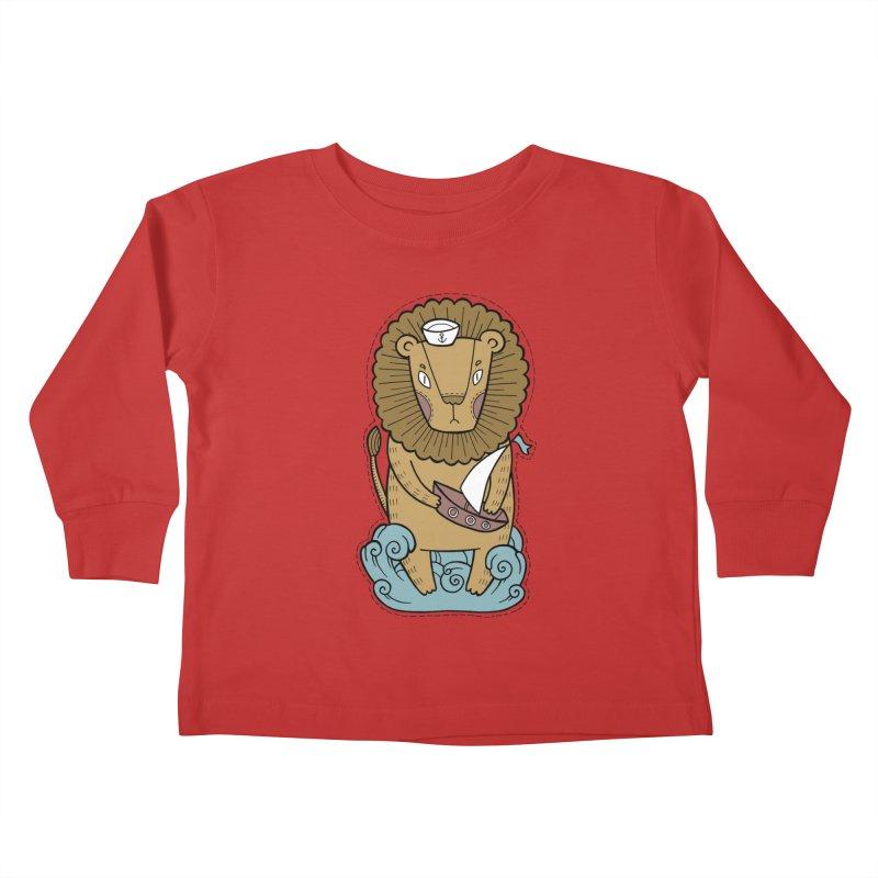 Sailor Lion Kids Toddler Longsleeve T-Shirt by Crazy Pangolin's Artist Shop