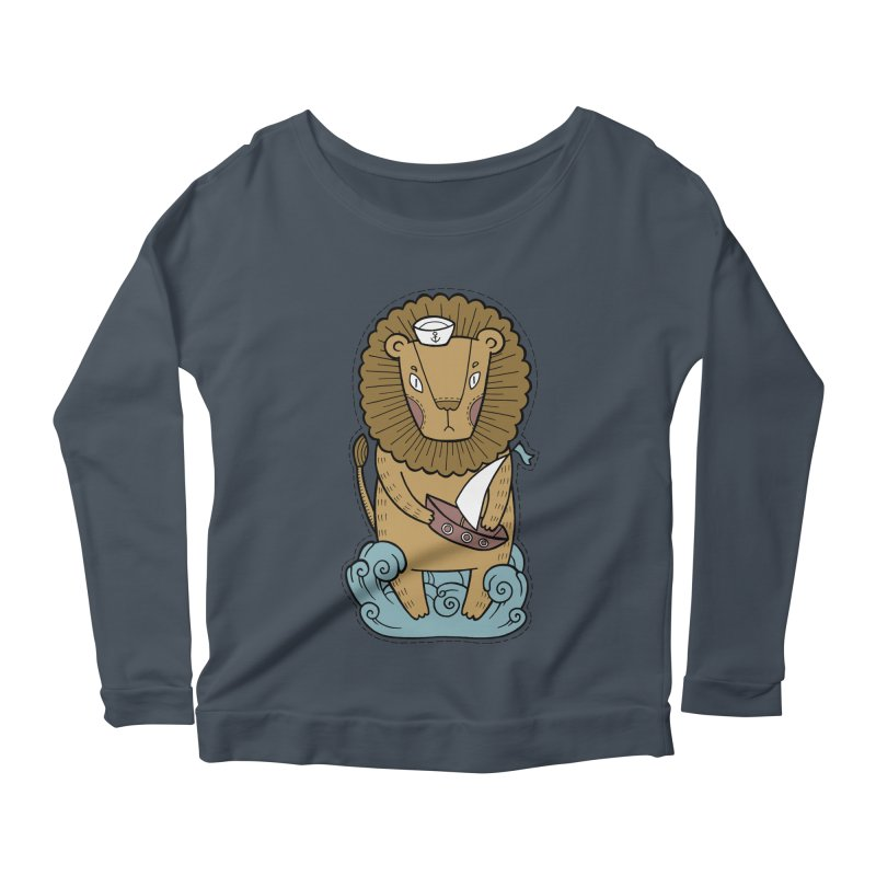 Sailor Lion Women's Longsleeve Scoopneck  by Crazy Pangolin's Artist Shop