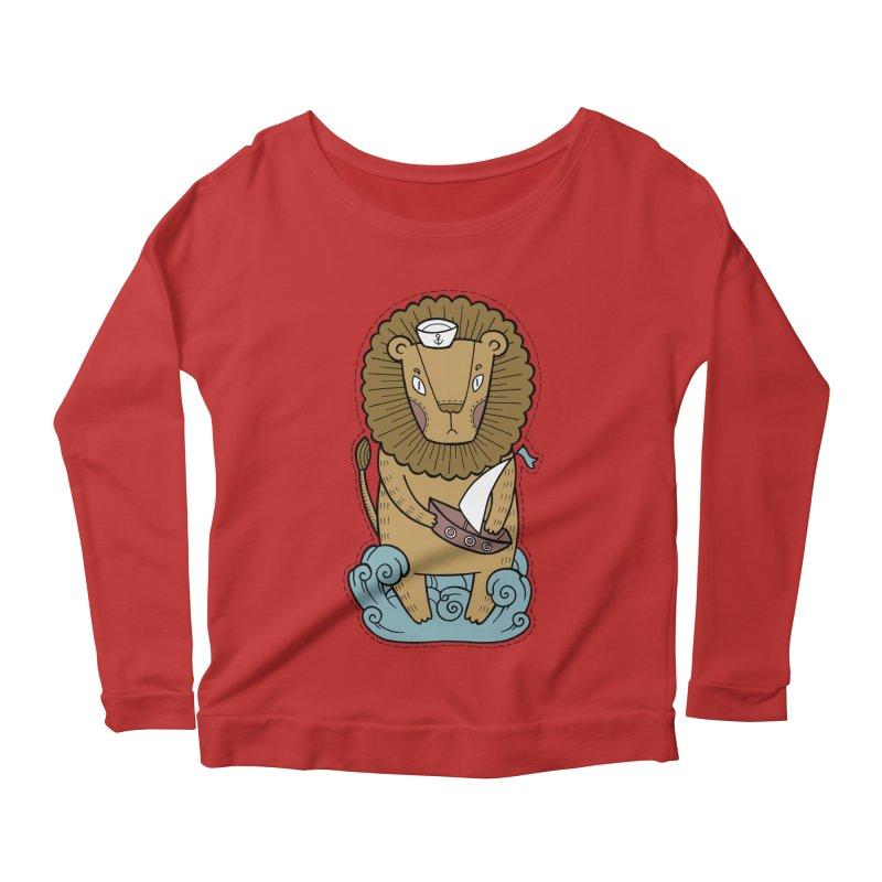 Sailor Lion Women's Scoop Neck Longsleeve T-Shirt by Crazy Pangolin's Artist Shop