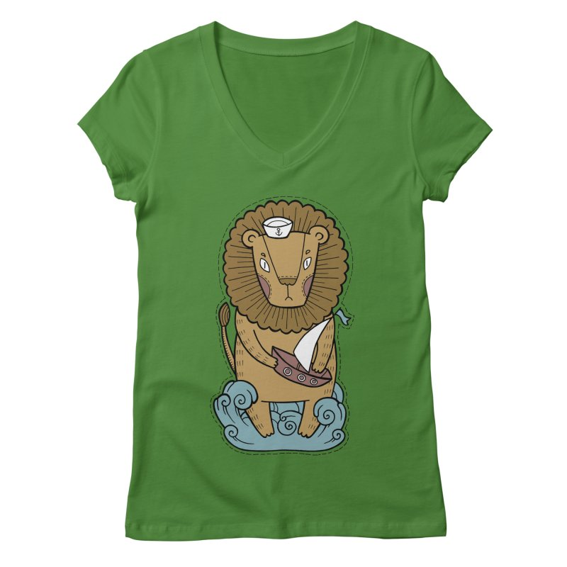 Sailor Lion Women's Regular V-Neck by Crazy Pangolin's Artist Shop