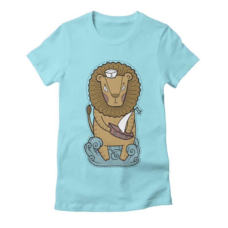 Sailor Lion Women's Fitted T-Shirt by Crazy Pangolin's Artist Shop