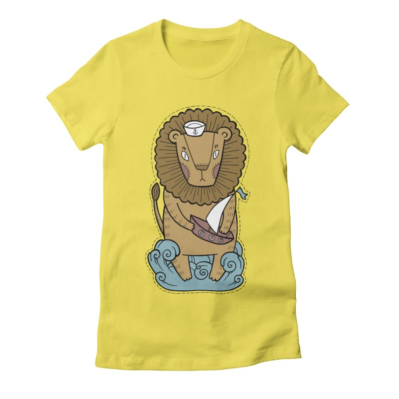 Sailor Lion Women's Fitted T-Shirt by Crazy Pangolin's Artist Shop