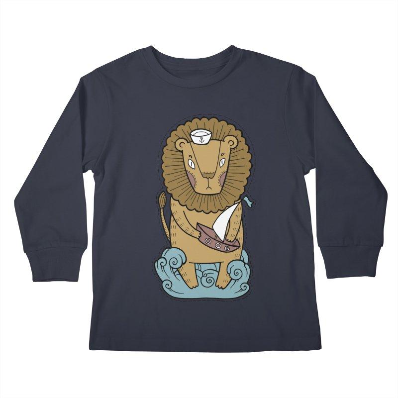 Sailor Lion Kids Longsleeve T-Shirt by Crazy Pangolin's Artist Shop