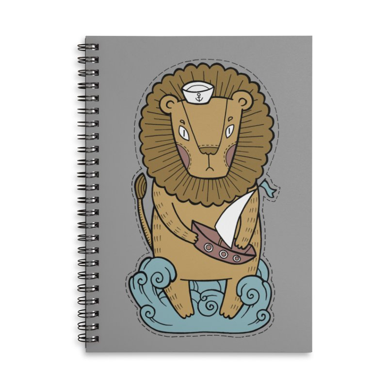 Sailor Lion Accessories Lined Spiral Notebook by Crazy Pangolin's Artist Shop