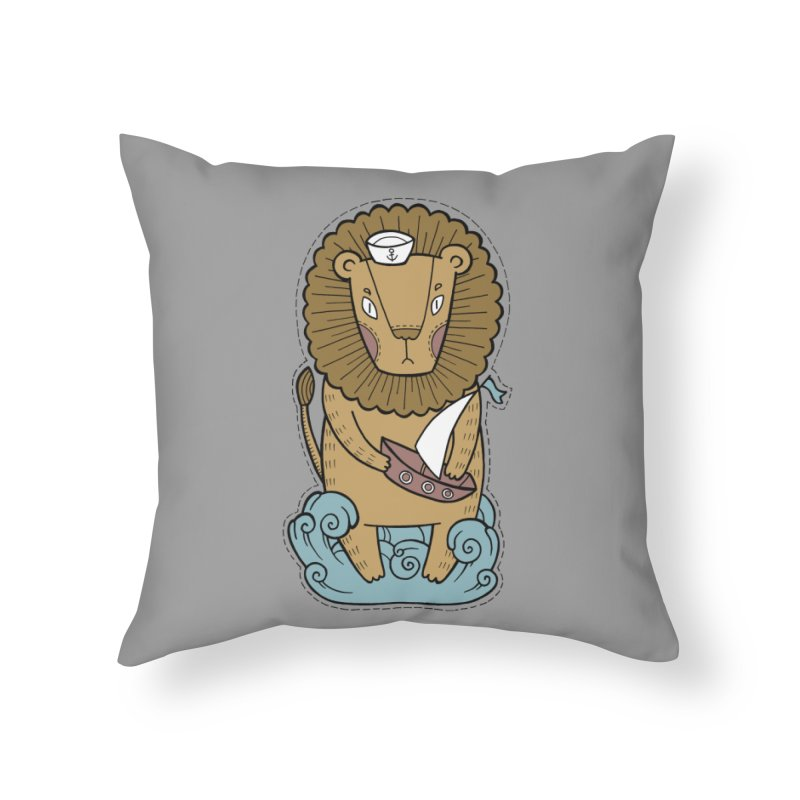 Sailor Lion Home Throw Pillow by Crazy Pangolin's Artist Shop
