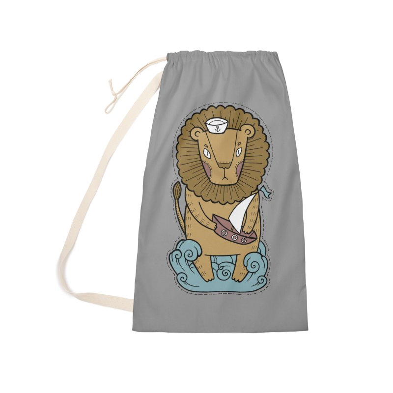 Sailor Lion Accessories Laundry Bag Bag by Crazy Pangolin's Artist Shop