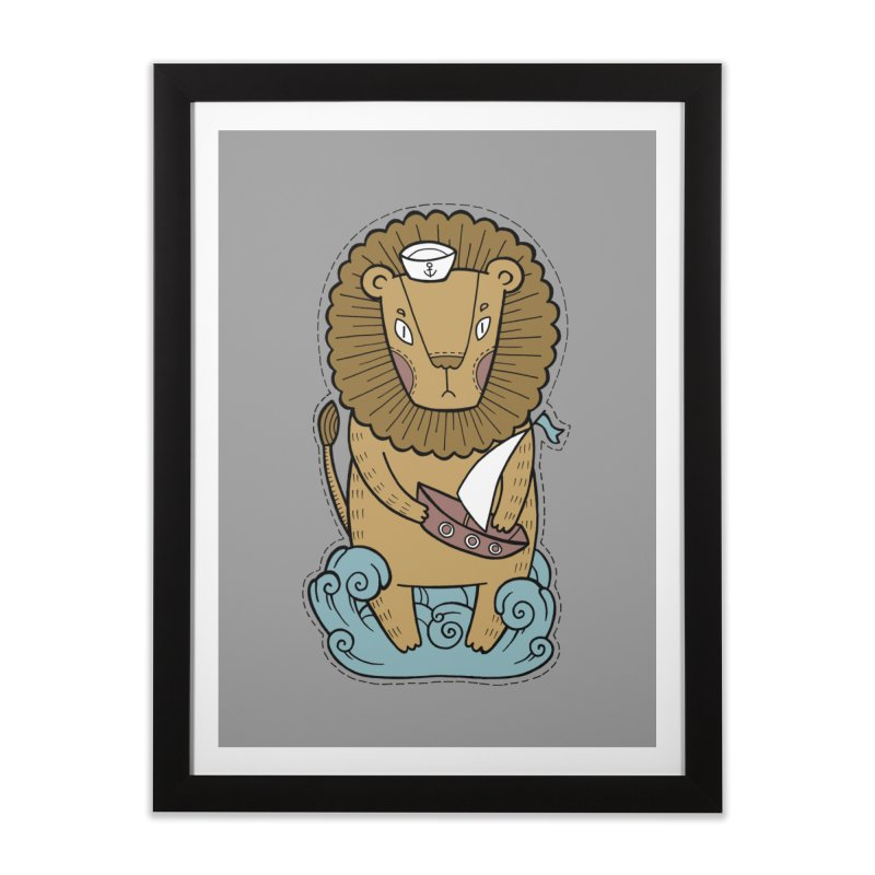 Sailor Lion Home Framed Fine Art Print by Crazy Pangolin's Artist Shop