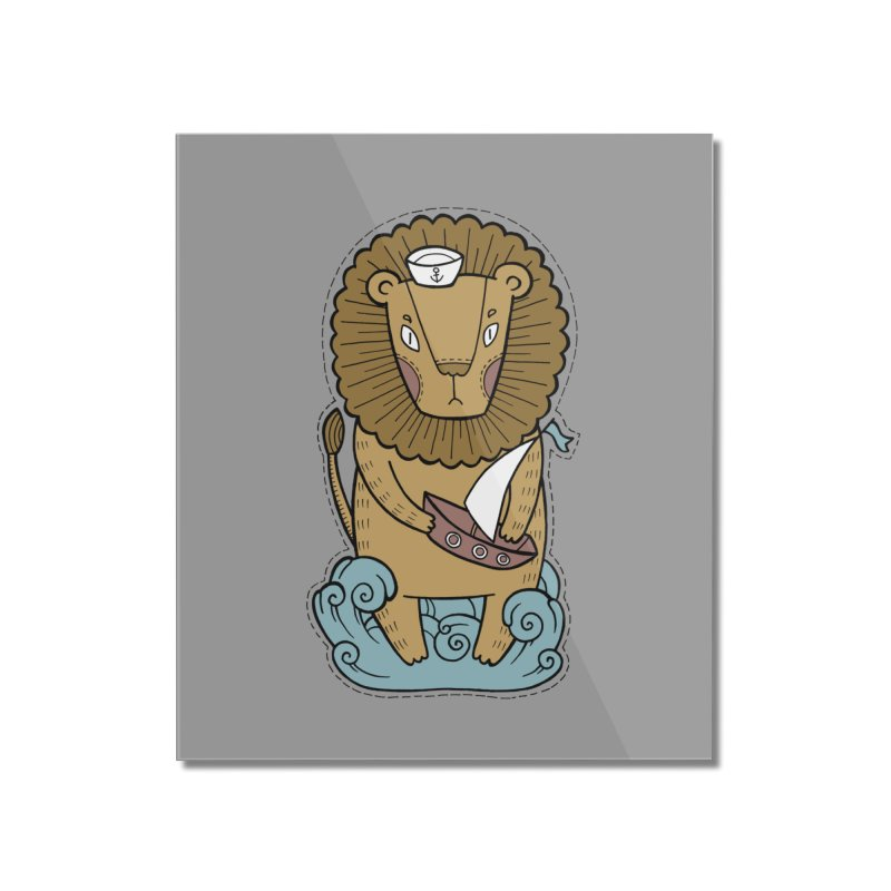 Sailor Lion Home Mounted Acrylic Print by Crazy Pangolin's Artist Shop