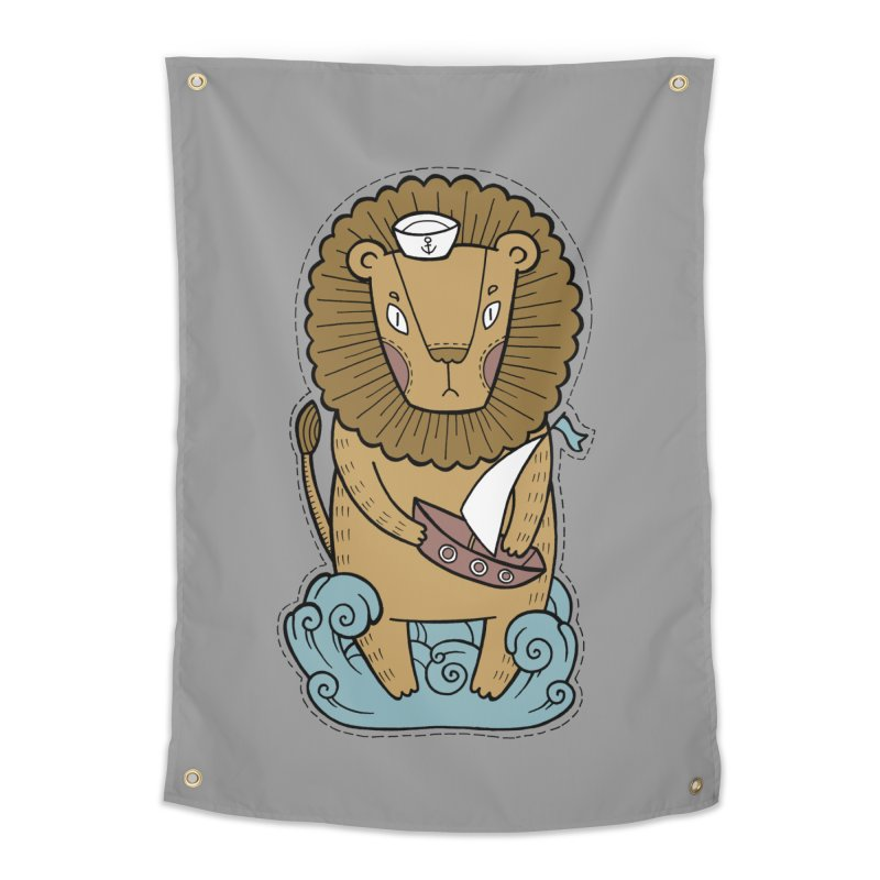 Sailor Lion Home Tapestry by Crazy Pangolin's Artist Shop